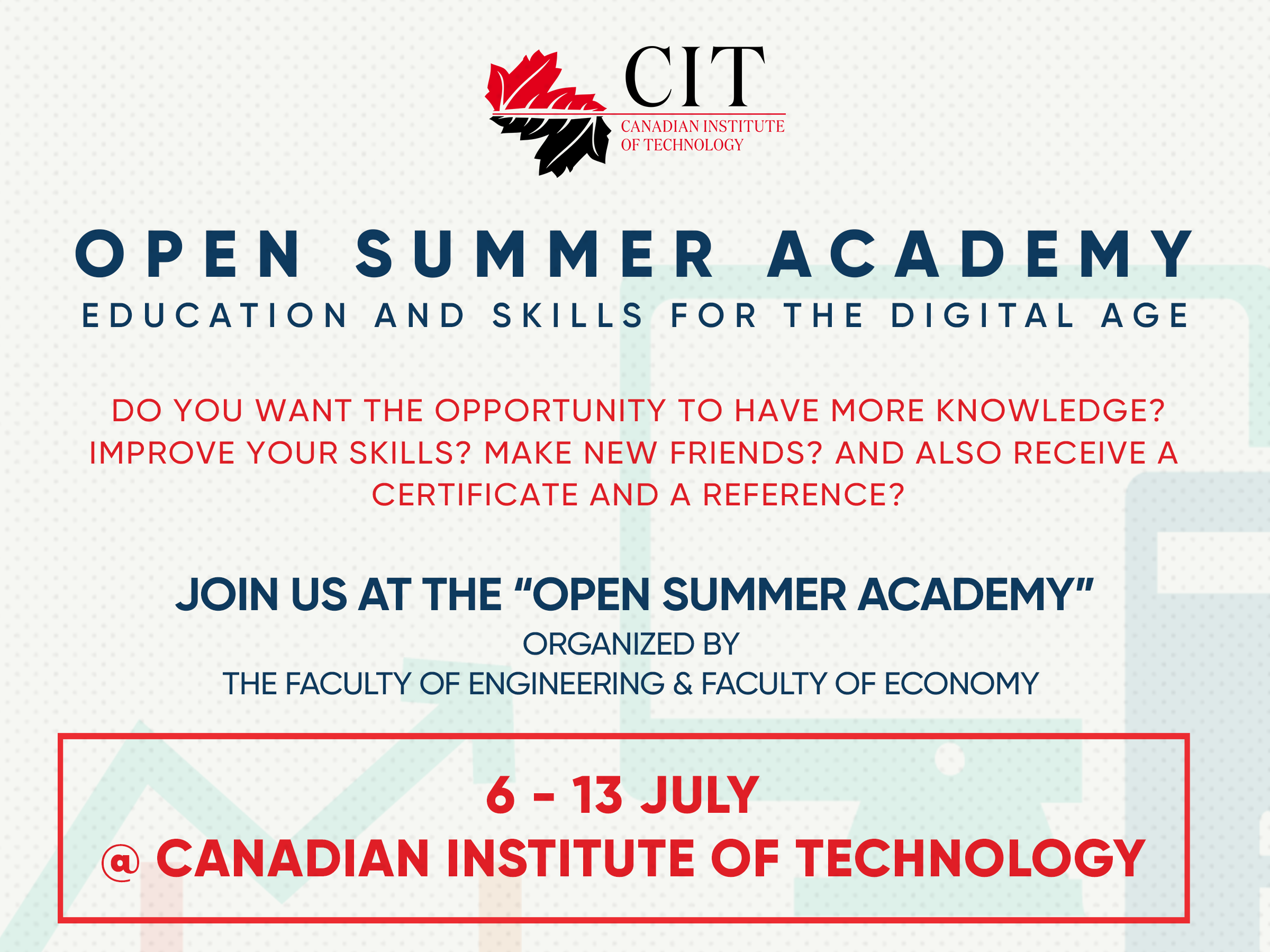 APPLY NOW !  OPEN/ SUMMER ACADEMY:   GO- DIGITAL